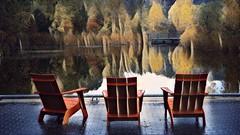 Pond impressions (Beaches Marley.....offline a lot) Tags: ipad paintfx brickworks toronto pond chairs