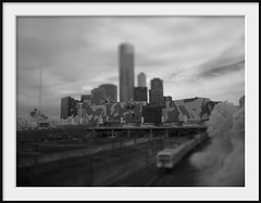 camourflage, trains, buses and cars (Andrew C Wallace) Tags: ir infrared blackandwhite homemadelens blur tiltshift melbourne victoria australia city southbank train bus olympus olympusomdem5 pentax18mm microfourthirds m43 cityscape