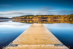 Dive into Autumn (James Whitlock Photography) Tags: sweden gothenburg goteburg harlanda lake pier jetty autumn tree colour golden leaf leaves reflection wood forest cloud long exposure nikon d810 lee filters gitzo reservoir delsjon