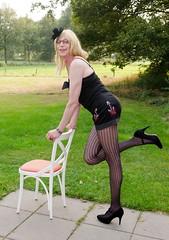 Playful. (sabine57) Tags: drag tv highheels cd tights crossdressing tgirl transgender tranny transvestite pantyhose crossdresser crossdress travestie transvestism playsuit patternedtights