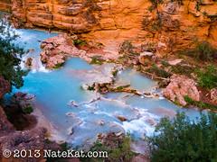 Beaver Falls (NateKat Photography) Tags: blue arizona green water waterfall whitewater hiking backpacking cascade brilliant havasupai beaverfalls olympusepl5