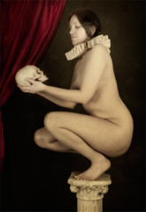 Untitled #1 (Brian L55) Tags: red woman art nude skull classical column ruff crouch oldmaster