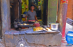 HOT POORI ANYONE ?! (GOPAN G. NAIR [ GOPS Creativ ]) Tags: street india tourism photography hotel open air cook varanasi spirituality gops gopan gopsorg gopangnair gopsphotography