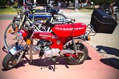 Honda/SkyTeam Minibike (dvanzuijlekom) Tags: españa bicycle june honda spain catalonia girona catalunya moped 50cc minibike cataluña dax gerona spanje 2014 empuriabrava brommer altempordà bromfiets catalonië canonef50mmf18mkii skyteam motorizedbicycle canoneos5dmarkiii fourstrokeengine