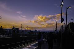 Railroad Dusk. (jeffreymbhibbard) Tags: sunset sky sun color beautiful beauty clouds 35mm lens photography prime golden washington nikon colorful professional nikkor streaks 35 puyallup sunstreaks nikond7000 nikon7000