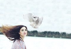 snow storm (caras.muffin) Tags: winter portrait woman snow photoshop self 50mm model selftaught owl expansion hairflip