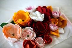 Watching the Garden Grow-handmade linen flowers (Entropy Always Wins) Tags: flower linen makingeverydaybeautiful