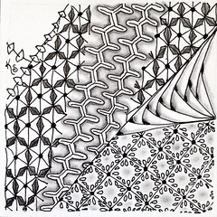 "#zentangle 2015-030, yesterday's tile uses the 4 patterns out of ""The Art of Zentangle"" that were not on Tangled Patterns -- Zippee, Poppet (variation), Roxi (which so far I cannot like my version of) and Twink with a little Betweed thrown in. (kurki15) Tags: square squareformat zia zentangle zendoodle iphoneography tanglepatterns instagramapp uploaded:by=instagram zentangleinspiredart string137 2015zentangleaday 2015zenjan"