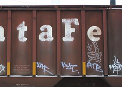 Mpeach (quiet-silence) Tags: railroad santafe art train graffiti streak railcar alb graff hopper freight amfm fr8 atsf moniker mpeach