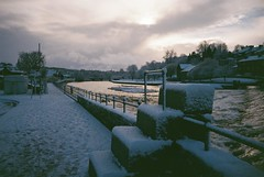 Cold Reflection II (bigalid) Tags: snow film 35mm river lomo lca january zenit dumfries c41 2015 nith agfaphotovistaplus400