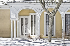 Crosby Mansion in Snow (brucetopher) Tags: winter light shadow white building home yellow architecture contrast landscape arch capecod massachusetts gothic arches 7d mansion brewster ornate hdr wealth snowscape crosby winterlandscape winterscene crosbymansion romansque canon7d capecodarchitecture brucetopher coldwinterlandscape