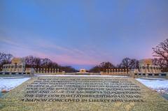 WWII Memorial & Lincoln Memorial (cmfgu) Tags: morning winter 2 snow sunrise dc washington districtofcolumbia memorial president wwii worldwarii nationalmall lincolnmemorial hdr highdynamicrange abrahamlincoln