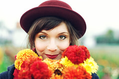 autumn flowers (caras.muffin) Tags: flowers autumn portrait woman color nature girl vintage 50mm eyes pentax retro hut selftaught