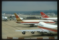 London Gatwick in the 1980's. (Longreach - Jonathan McDonnell) Tags: england london 1987 scan virgin boeing 1980s boeing747 747 virginatlantic sabena continentalairlines lgw gatwickairport londongatwick nikoncoolscanved scanfromaslide egkk 003028