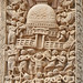 Le grand stūpa de Sanchi, pilier ouest du Torana nord et les musiciens grecs (Inde)