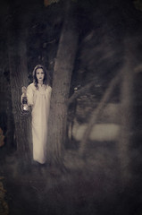 Don't Come To Close, It's Dark In The Woods (LornaTaylor Offline,computer died :() Tags: caitlin lornataylor taylorimagesca copyright2015lornataylor summer lensbaby sweet50 lensbabysweet50 bokeh woods trees darkness lantern conceptual afraid fear storytelling model girl evening darkfairytales on1 on1software textures perfectseffects nightgown ghostly