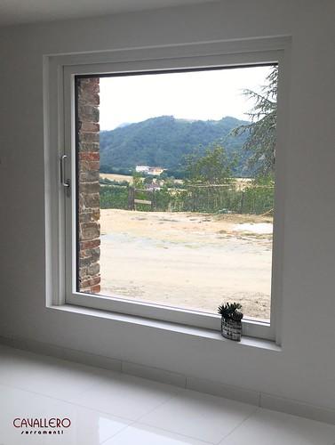 Alzante scorrevole a scomparsa DUO Legno-Alluminio con vetro strutturale
