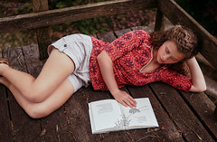 In the Treehouse (Cardwell Photo LLC | Thanks for 2 Million Views!) Tags: red portrait people woman brown black senior girl beautiful reading wooden colorful jen moody texas unitedstates rustic books treehouse teen lie shade ppl shorts lying client silsbee hardincounty jenniferwatters