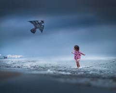 kites by the sea (iwona_podlasinska) Tags: kite boy child childhood blue sea water sky