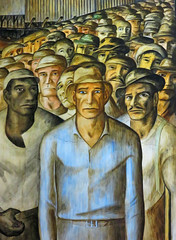 partial WPA mural inside the Coit Tower in San Francisco, CA Langley Howard's mural depicts an ethnically diverse Labor March... (al-ien) Tags: california sanfrancisco coittower wpa mural wpamural workers