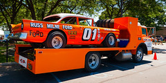 1957 Ford race car on a 1956 Ford transport truck (hz536n/George Thomas) Tags: summer copyright ford canon michigan canon5d flint carshow 2016 ef1740mmf4lusm cs5 sloanmuseum sloanmuseumautofair