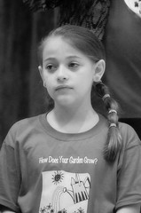 2016-04-07 (148) Fred D ES 2nd grade show (How Does Your Garden Grow) evening (JLeeFleenor) Tags: photos photography virginia va leesburg loudouncounty frederickdouglass elementaryschool twins inside indoors youthactivities youth skit bw blackwhite monochrome