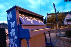 play me - jouer (deanofalexandra) Tags: piano music outdoor park sunset purple
