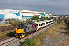 Euro Phoenix Livery 37800 on hire to ROG drags EMU No 375702 through Loughborough on 14.8.16 with 5Q57  1356 Acton Lane Reception Sdgs to Derby Litchurch Lane move (Paul Biggs) Tags: 37800 rog loughborough 375702