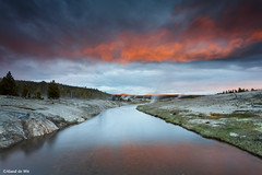 yellowstone geysers (aland67) Tags: landscape goldenhour geyser geysers river refelections clouds sunset leendsoft09 06soft cloud upper bassin yellowstone np usa wyoming tree alanddewit longexposure