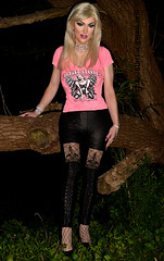 First time out in the woods as blond (Juliapanther Over 25 million views, thanks!!!) Tags: julia panther juliapanther pink fishnet high heels pantyhose nylon legs tgirl