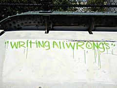 Writing all wrongs (V and the Bats) Tags: writingallwrongs wisconsin westallis onawall wallstories grafitti handwriting lettering awalkonthehankaaronbicyclepath hankaarontrail