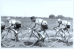 1962 Tour de France. (Paris-Roubaix) Tags: 1962 tour de france jacques anquetil pierre everaert st raphael gitane vintage black white cycling photographs french bicycle racing helyett evian faema flandria