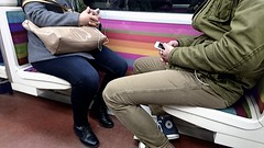 Subway Scene (cfalguiere) Tags: facetoface locationparis people pink seat smartphone transport twopersons sel20160813 sel20160821