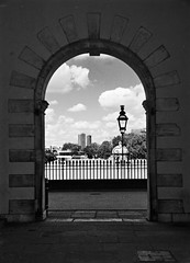 Archway (Sarah Marston) Tags: greenwich london sony alpha a65 archway bw clouds streetlight streetlamp august 2016