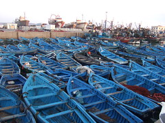 Blue fishing boats (ivi c) Tags: blue colouful boat bay morroco fishing