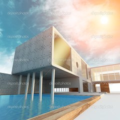 Modern office building (archicadthai) Tags: 3d abstract angle apartment architecture blue built business city color clear concepts construction design downtown estate house sun sunrise shape modern minimalism exterior facade futuristic glass ideas image light nobody office outdoors window cloudy sky water wood stone perspective real reflection render scene shiny structure technology turquoise urban vibrant view