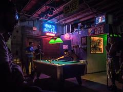 Pool at the Bates Motel (Bill Oriani) Tags: 2016 austin batesmotel beerland lightroomcc omdem1 olympus pooltable tx texas neon