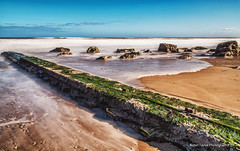 Hendon Beach II (robinta) Tags: beach hendon sunderland architecture groyne concrete sand rocks sky water waves sea seascape longexposure sigma18200mmhsmc pentax ks1