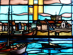Stained glass Barfleur harbour (Beth M527) Tags: manche france 2016 lowernormandy bassenormandie stainedglasswindows barfleur churches housesofgod