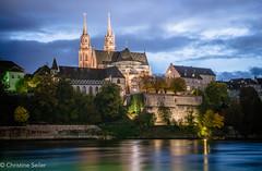 Basel by night 2 (Christine Seiler Photography) Tags: langzeitbelichtung basel schweiz switzerland suisse bale nacht night river cathedral mnster rhein rhine longexposure