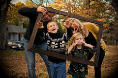 Framed Madness: A Family Portrait (Rob Briscoe) Tags: family portrait funnyface fall goofy birmingham funny zombie father alabama mother siblings frame poses