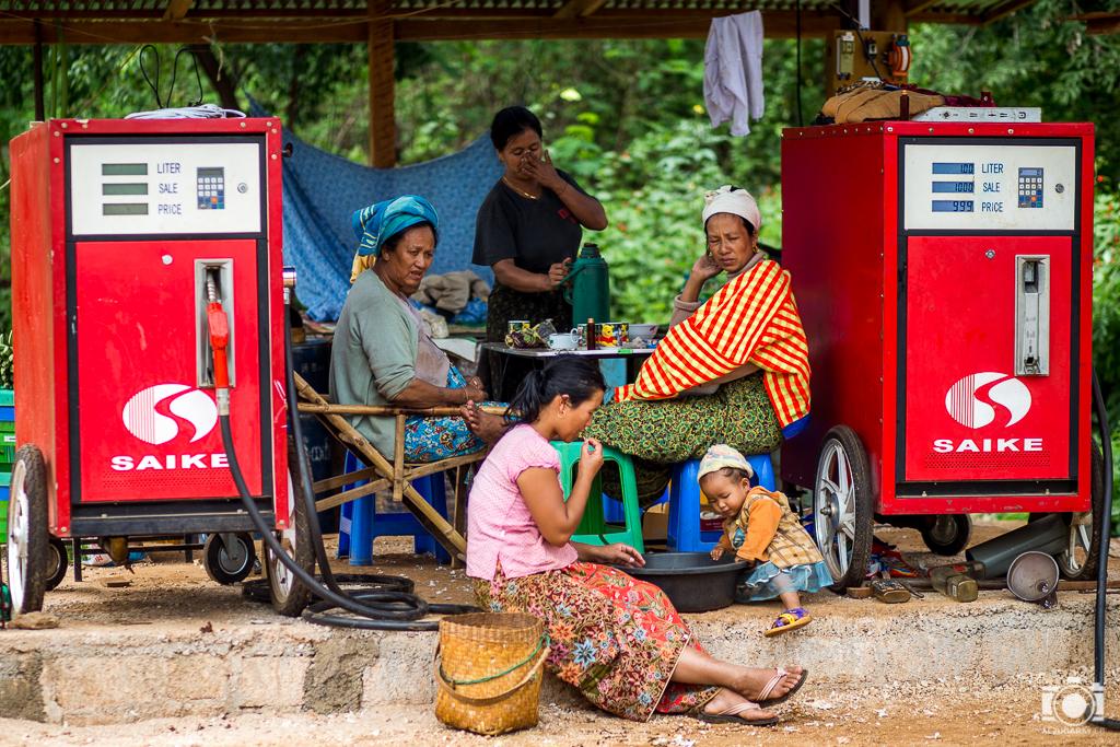 Gasolinera en Indein en Inle Lake (Myanmar)