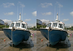 3D Tenby harbour blueboat (3D shoot) Tags: wales boat stereoscopic 3d seaside harbour stereo parallel pembrokeshire tenby 3dshoot
