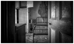 Bed (ducatidave60) Tags: blackandwhite bw abandoned monochrome fuji decay fujifilm dereliction fujifilmxpro1 fujinonxf14mm28r
