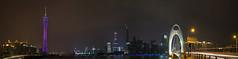 江畔夜景/Night by the Pearl River (KAMEERU) Tags: guangzhou bridge tower night river pearl ifc canton liede haixinsha