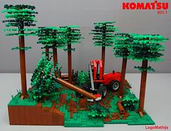 04_KOMATSU_931.1_display_overview (LegoMathijs) Tags: wood tree forest lego display parts contest boom technic 200 universal komatsu joint harvester harvesting 9311 moc legomathijs