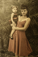 Mum & Bub Pin ups (Papa LRG) Tags: girls portrait photoshop vintage mom daughter cc processed pinup canon7d