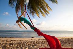 Aerial Silk Dance in Sundown (LuckyAmori) Tags: sunset beach palms flying paradise circus tissue silk aerial stretch gymnastics lucky acrobatics split cirque sil cirkus flexible amori aerialist aerialsilks mngrda luckyamori