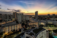 Reaching Out (Mabmy) Tags: light sunset beauty architecture night out lumix singapore glow cityscape estate reaching olympus final heartland ultrawide hdb em1 7mm vertorama manualblending