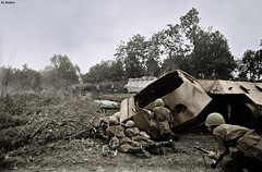 Soviet soldiers take cover next to a destroyed Panther tank 1943 (Za Rodinu) Tags: world 2 man men history vintage soldier war gun russia military rifle rifles front german weapon ww2 soldiers historical guns 1942 1945 rare troops 1944 1943